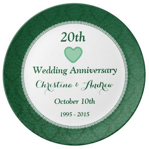 20th Wedding Anniversary Emerald Green W20A Porcelain Plates