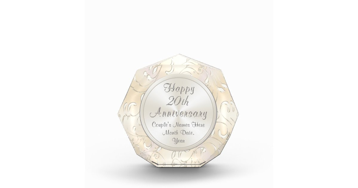 20th Wedding Anniversary Gift For Wife Personalize Zazzle