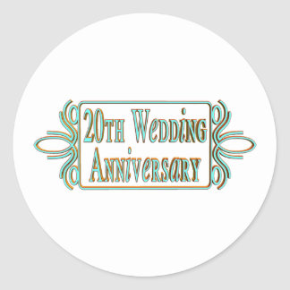 20th wedding anniversary gifts at classic round sticker