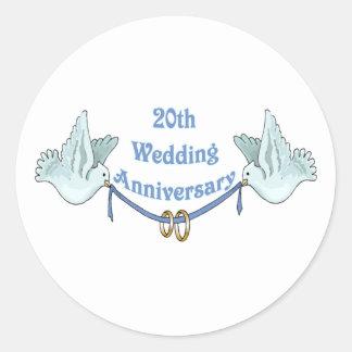 20th wedding anniversary gifts t classic round sticker