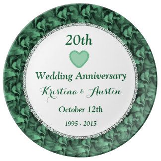 20th wedding anniversary flower 20th wedding anniversary plates zazzle 1061