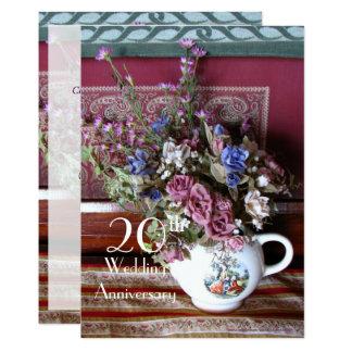 20th Wedding Anniversary Invitation Vintage Teapot