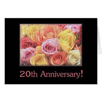 20th Wedding Anniversary mixed rose bouquet Card