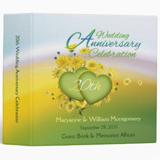 20th Wedding Anniversary Party Guest Book 2 Inch Binder