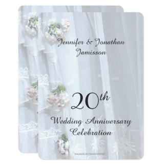 20th Wedding Anniversary Party, Vintage Lace Card