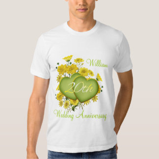 20th Wedding Anniversary Party Wildflower Hearts T Shirt
