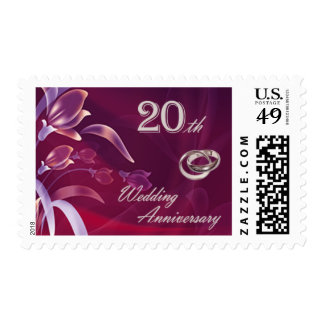 20th Wedding Anniversary Postage Stamps