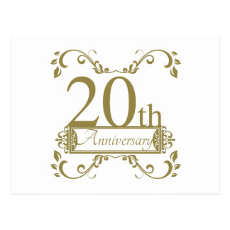 20th Wedding Anniversary Postcard