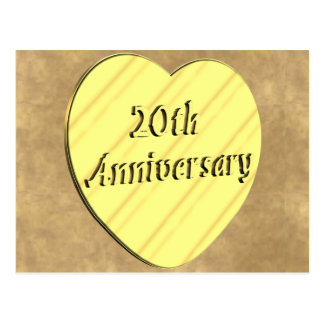 20th Wedding Anniversary Postcard