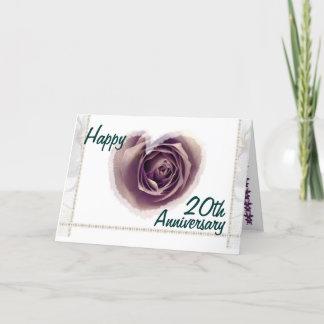 20th  Wedding Anniversary - Purple Rose Heart Card