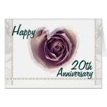 20th  Wedding Anniversary - Purple Rose Heart Greeting Card