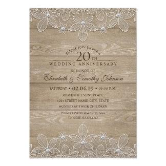 20th Wedding Anniversary Rustic Wood Vintage Lace Invitation