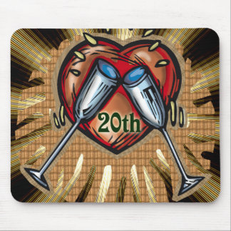 20th wedding anniversary square mouse pad