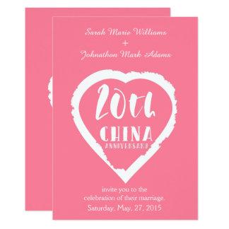 20th Wedding anniversary traditional china Invitation