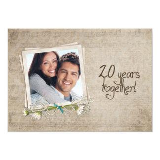 20th Wedding Anniversary Vow Renewal 5x7 Paper Invitation Card