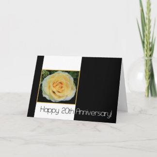 20th Wedding Anniversary - Yellow Rose Card