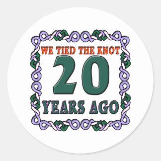 20thweddinganniversary classic round sticker