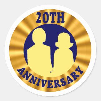 20thweddinganniversaryb4 classic round sticker