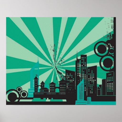 20x16 Abstract Green City Wall Art
