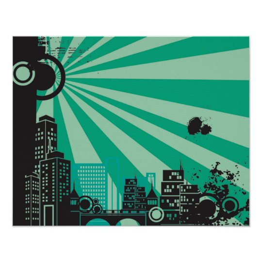 20x16 Abstract Green City Wall Art