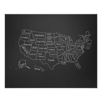 20x16 Chalkboard Classroom US Map Poster