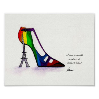 "20x16"" Eiffel Tower Shoe Poster"