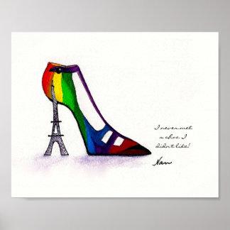 20x16 Eiffel Tower Shoe Poster