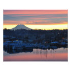 20X16 Mount Rainier and the Marina in Olympia, WA Photo Print