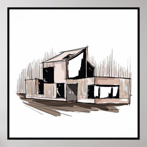 Wall Decor 20x20 : Abstract house wall art print zazzle