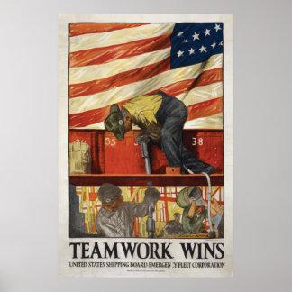 20x30 Teamwork Wins, WWI motivational poster