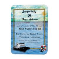 20XX Cruise Ship Watercolor Wedding Invitation Magnet