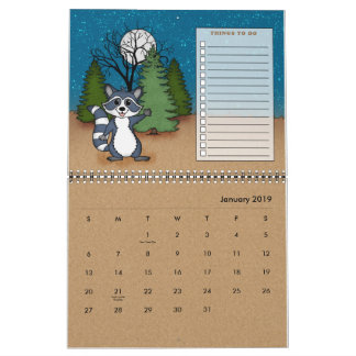 20XX Cute Camping Animal Pets RV Wildlife  Planner Calendar