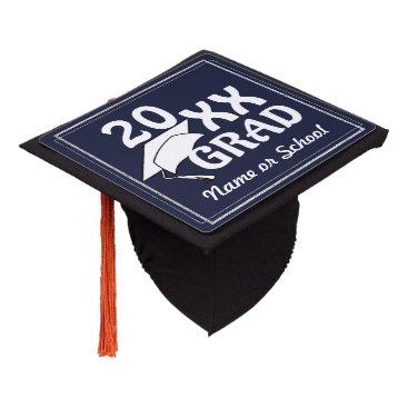 Beach Themed 20XX Grad w/ Silver Border (Changeable Background) Graduation Cap Topper