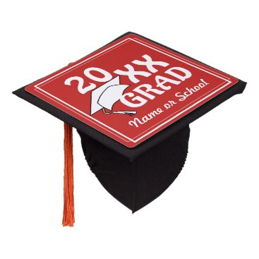 Beach Themed 20XX Grad w/ White Border (Changeable Background) Graduation Cap Topper