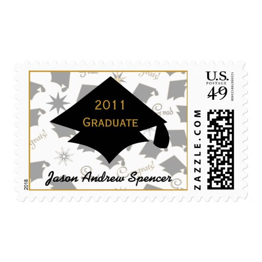 20xx Graduation Caps Black and Gold Postage