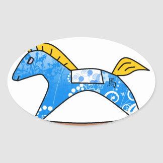 2104 Year of the Horse - Blue Oval Sticker