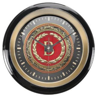 """[210] """"B"""" Gold Vintage Monogram Aquarium Clock"""