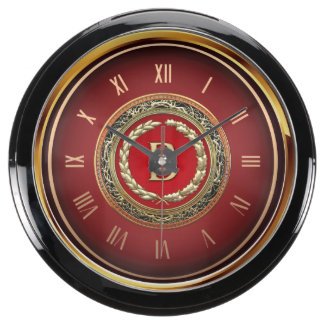 "[210] ""B"" Gold Vintage Monogram Fish Tank Clock"