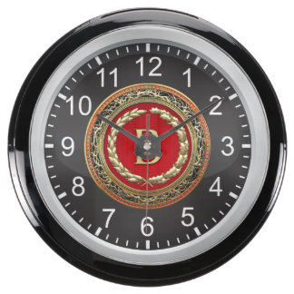 "[210] ""B"" Gold Vintage Monogram Aqua Clocks"