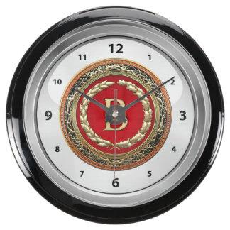 "[210] ""B"" Gold Vintage Monogram Aqua Clock"