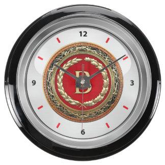 "[210] ""B"" Gold Vintage Monogram Aquavista Clocks"