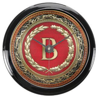 """[210] """"B"""" Gold Vintage Monogram Aquarium Clocks"""
