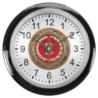 "[210] ""B"" Gold Vintage Monogram Aquavista Clock"