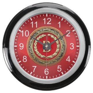 "[210] ""B"" Gold Vintage Monogram Fish Tank Clocks"