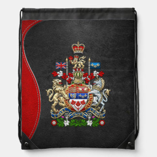 [210] Canada Coat of Arms [3D] Drawstring Backpack