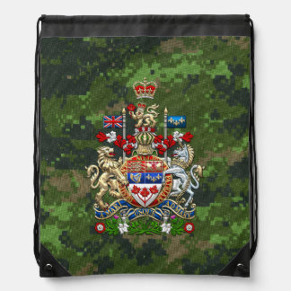 [210] Canada Coat of Arms [3D] Drawstring Bag