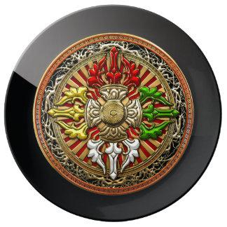 [210] Tibetan Double Dorje Mandala Plate