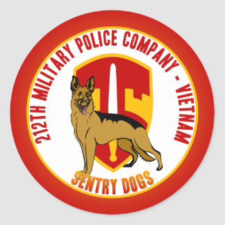 212th MP Co. Vietnam - Sentry Dogs Classic Round Sticker