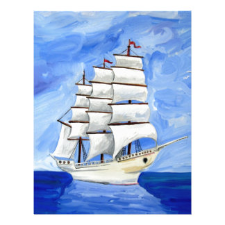 213674 SAILBOAT PAINTING BLUE SKIES WATER TRANSPOR LETTERHEAD