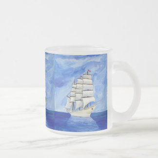 213674 SAILBOAT PAINTING BLUE SKIES WATER TRANSPOR 10 OZ FROSTED GLASS COFFEE MUG